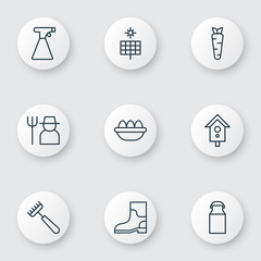 Set Of 9 Plant Icons. Includes Birdhouse, Jug, Grower And Other Symbols. Beautiful Design Elements.