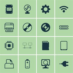 Set Of 16 Computer Hardware Icons. Includes Battery, Printed Document, Chip And Other Symbols. Beautiful Design Elements.