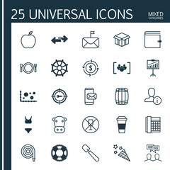 Set Of 25 Universal Editable Icons. Can Be Used For Web, Mobile And App Design. Includes Elements Such As Work Phone, Mocha, Kine And More.