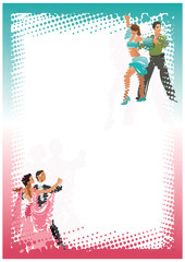 stylized dancing couples. bright vertical frame. vector image