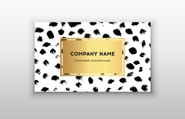 Vector gold business card templates with brush stroke background. Dark brush dots