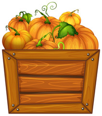 Pumpkins in wooden bucket