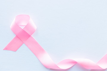 pink ribbon breast cancer symbol on white background
