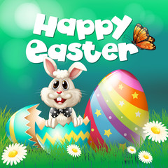 Happy Easter poster with bunny and eggs
