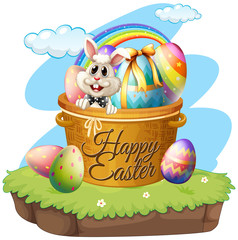 Happy Easter with rabbit and eggs