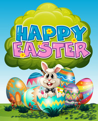 Happy Easter poster with bunny and eggs on grass