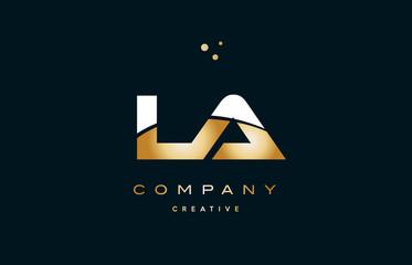 la l a  white yellow gold golden luxury alphabet letter logo icon template