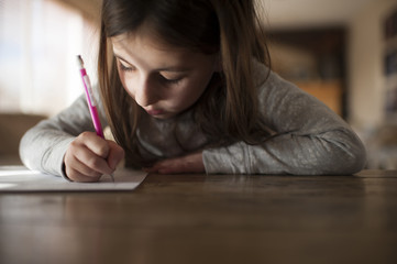 Girl writing homework at home