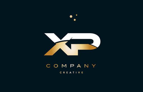 xp x p  white yellow gold golden luxury alphabet letter logo icon template
