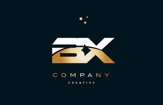 bx b x  white yellow gold golden luxury alphabet letter logo icon template