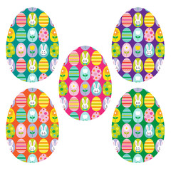 cute egg and bunny pattern on eggs clipart