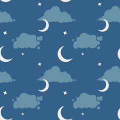 Vector seamless pattern with night sky