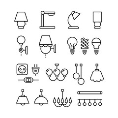 Wall Mural - Lamp, bulbs, chandelier and electrical devices thin line vector icons set