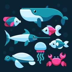 Ocean, salt sea fishes vector set