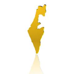 Israel, 3D Piktogramm in Gold mit Reflexion