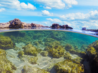 Split underwater view in Sardinia