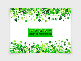 Happy Saint Patrick's Day design greeting card with scattered four leafs clovers and shamrocks isolated on white paper background. Vector illustration