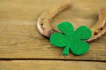 St Patricks Day shamrocks with horseshoe