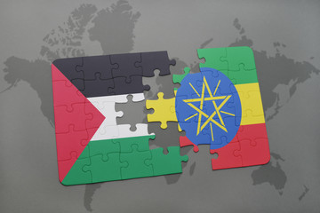 puzzle with the national flag of palestine and ethiopia on a world map