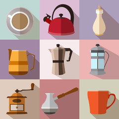 Set of colorful square flat coffee icons with long shadows