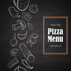 Pizza menu title with white hand drawn ingredients on chalkboard