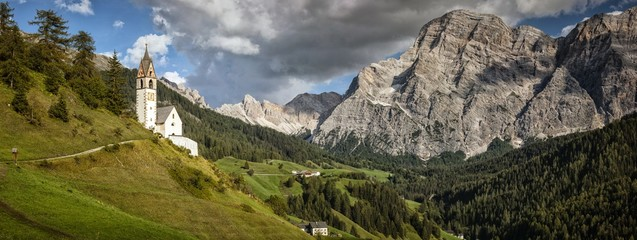 Little church of La Val, South Tyrol, Dolomites, Italy