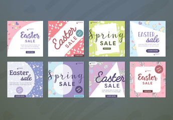 8 Square Easter Sale Ad Layouts for Social Media