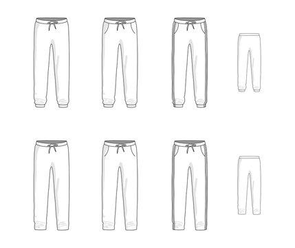 Sport sweatpants set. Vector illustration
