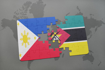 puzzle with the national flag of philippines and mozambique on a world map