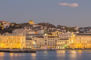 Piazza Unità d'Italia square and Molo Audace, view from the sea of Trieste, Italy