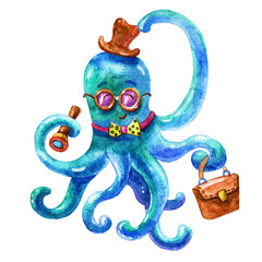 Cute blue business octopus-Octopus life.Wildlife brightly colored hand drawn watercolor style picture on white background.Colorful Travel watercolor illustration.Perfectly for the marine theme