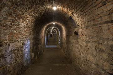 Papiers peints Tunnel Dark corridor walls under ground with natural lights Budapest Castle Hill