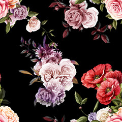 Carnations, Peony, Poppy and Roses buds with leaves. Different flowers. Seamless background pattern. Vector - stock.