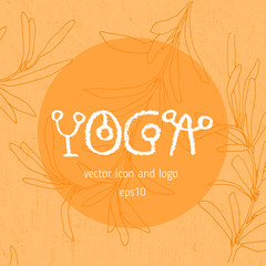 Yoga icon, linear logo design, line yoga badge. Graphic design element in contour for creation of banner for spa center of yoga school studio. Decorative vector element with yoga lettering