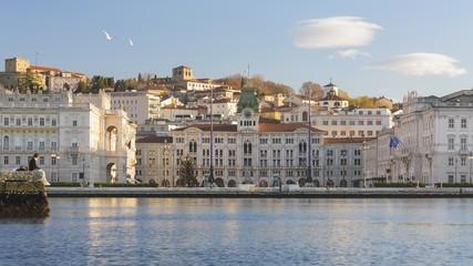 Piazza Unità d'Italia square and the Molo Audace, view from the sea of Trieste, Italy