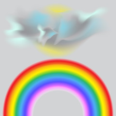 It's a nasty day . A bright rainbow. Partly cloudy skies. Vector illustration.