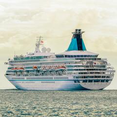 Cruise liner entering Baltic sea. White passenger ship