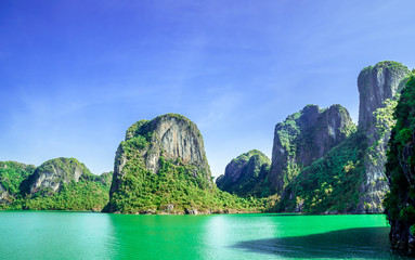 view on Karst landscape by Halong bay in Vietnam