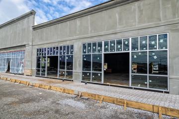 A new retail strip center under construction.