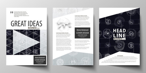 Business templates for brochure, magazine, flyer, annual report. Cover template, layout in A4 size. High tech design, connecting system. Science and technology concept. Futuristic vector background.