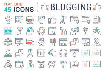 Set Vector Flat Line Icons Blogging