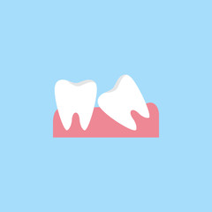 Wisdom teeth flat  icon, Dental and medicine, vector graphics, a colorful solid pattern on a blue background, eps 10.