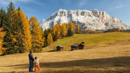 Mother and child admiring the Dolomite's autumn landscape, Prati dell'Armentara,Badia Valley, Italy