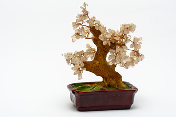Happiness tree in a brown pot on a white background