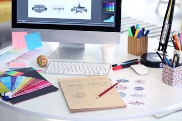 Modern graphic designer workplace