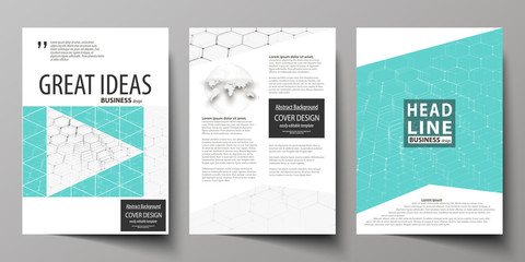 Business templates for brochure, flyer, booklet, report. Cover design template, abstract vector layout in A4 size. Chemistry pattern, hexagonal molecule structure on blue. Medicine, technology concept