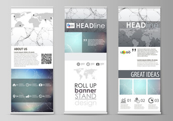 Roll up banner stands, abstract geometric design templates, vertical vector flyers, flag layouts. Compounds lines and dots. Big data visualization in minimal style. Graphic communication background.