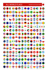 Flat Round Icons of All World Flags
