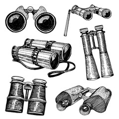 Binocular monocular vintage, engraved hand drawn in sketch or wood cut style, old looking retro scinetific instrument for exploring and discovering.
