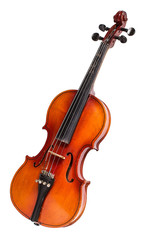 Old violin on white background.